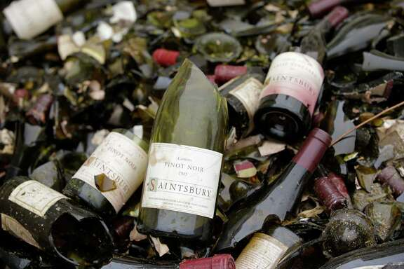 """Some losses from the earthquake can't be fixed or replaced, such as southern Napa Valley's Saintsbury winery """"library wines,"""" from past vintages, many of which were shattered."""