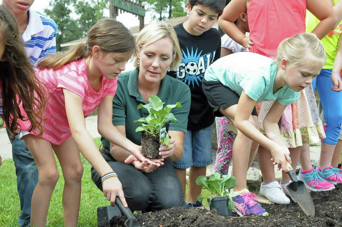 Stephanie Baker, center, works with third-graders on planting a fall vegetable garden at Sampson Elementary in Cypress.