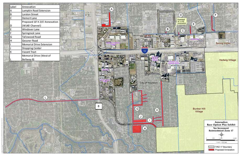 This graphic is the Annexation Base Option Plus Exhibit of the Memorial TIRZ.This graphic is the Annexation Base Option Plus Exhibit of the Memorial TIRZ. Photo: Courtesy Memorial City TIRZ 17