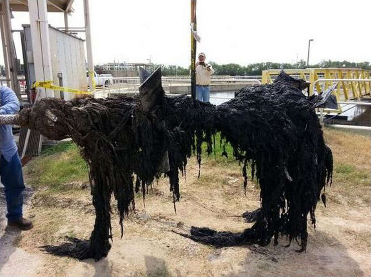 """The San Antonio Water System tweeted this image of """"flushable"""" wipes pulled out of the sewer system. SAWS is seeing an uptick of clogged pipes caused by """"flushable"""" wipes. The agency is trying to build awareness of the problem using the hashtag #WipesClogPipes on social media."""