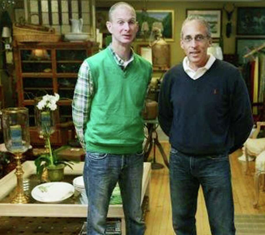 Ian Durkin, left, and Gary Pelletier of On the Hunt, a lifestyle design store on Church Street in New Milford featuring items such as furniture, artwork, glass and fine china for the home. Sept. 13, 2014 Photo: Tyler Sizemore / The News-Times