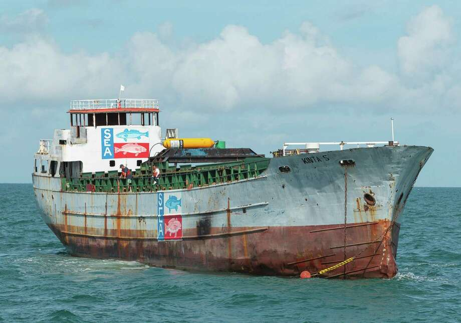 The 40-year-old Kinta S cargo vessel now lies at the bottom of the ocean, providing a home for marine life in the Gulf of Mexico. Photo: Earl Nottingham/Texas Parks And Wildlife Department