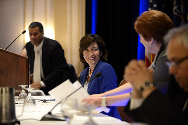 Kathy Hochul, Gov. Andrew Cuomo's running mate, center, congratulates Albany Mayor Kathy Sheehan following the mayor's speech to the state Democratic Committee Monday, Sept. 22, 2014, during a party meeting at the Desmond Hotel in Colonie, N.Y. (Will Waldron/Times Union) Photo: WW, Albany Times Union / 00028714A