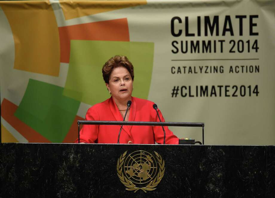 Brazilian President Dilma Rousseff speaks during the opening session of the Climate Change Summit at the United Nations. Photo: TIMOTHY A. CLARY, Staff / AFP/Getty Images / AFP