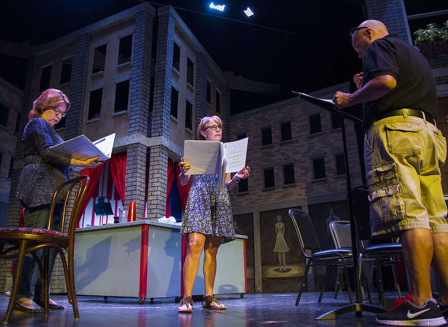 "Sherrie Shirky (from left), Angela Hoeffler and director Greg Hinojosa rehearse ""Unbroken Circle"" at the Woodlawn Theatre. The play combines drama and comedy in a story of family dysfunction. It's only other performances were off-Broadway. Photo: Photos By Alma E. Hernandez / For The Express-News"