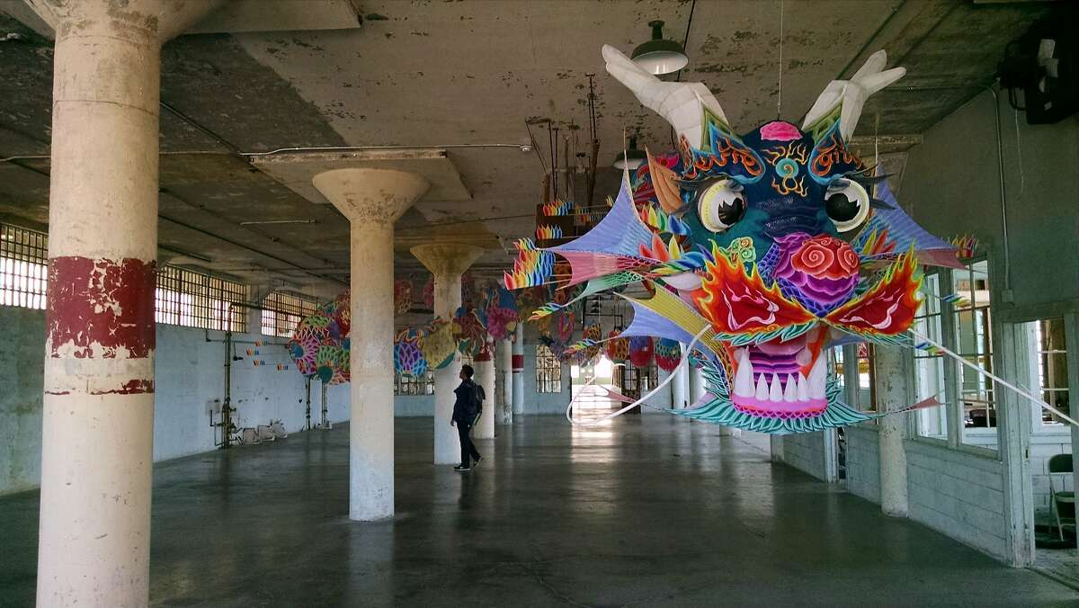 """A detail of """"With Wind"""" (2014) installation of paper kites by Ai Weiwei in """"@Large: Ai Weiwei on Alcatraz"""""""