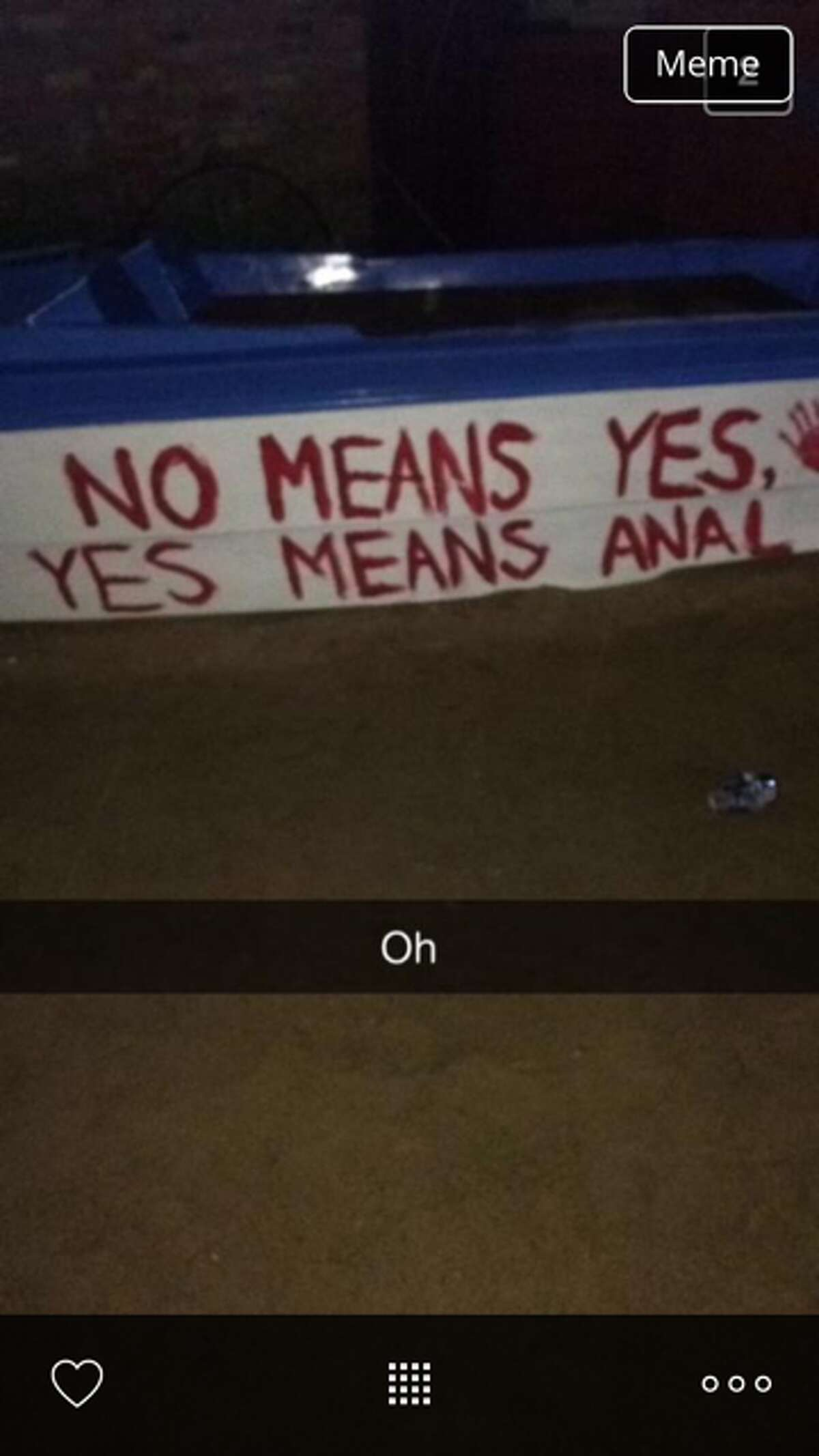 A sign allegedly on display at a Phi Delta Theta party at Texas Tech University over the weekend. (Photo via website Total Frat Move).