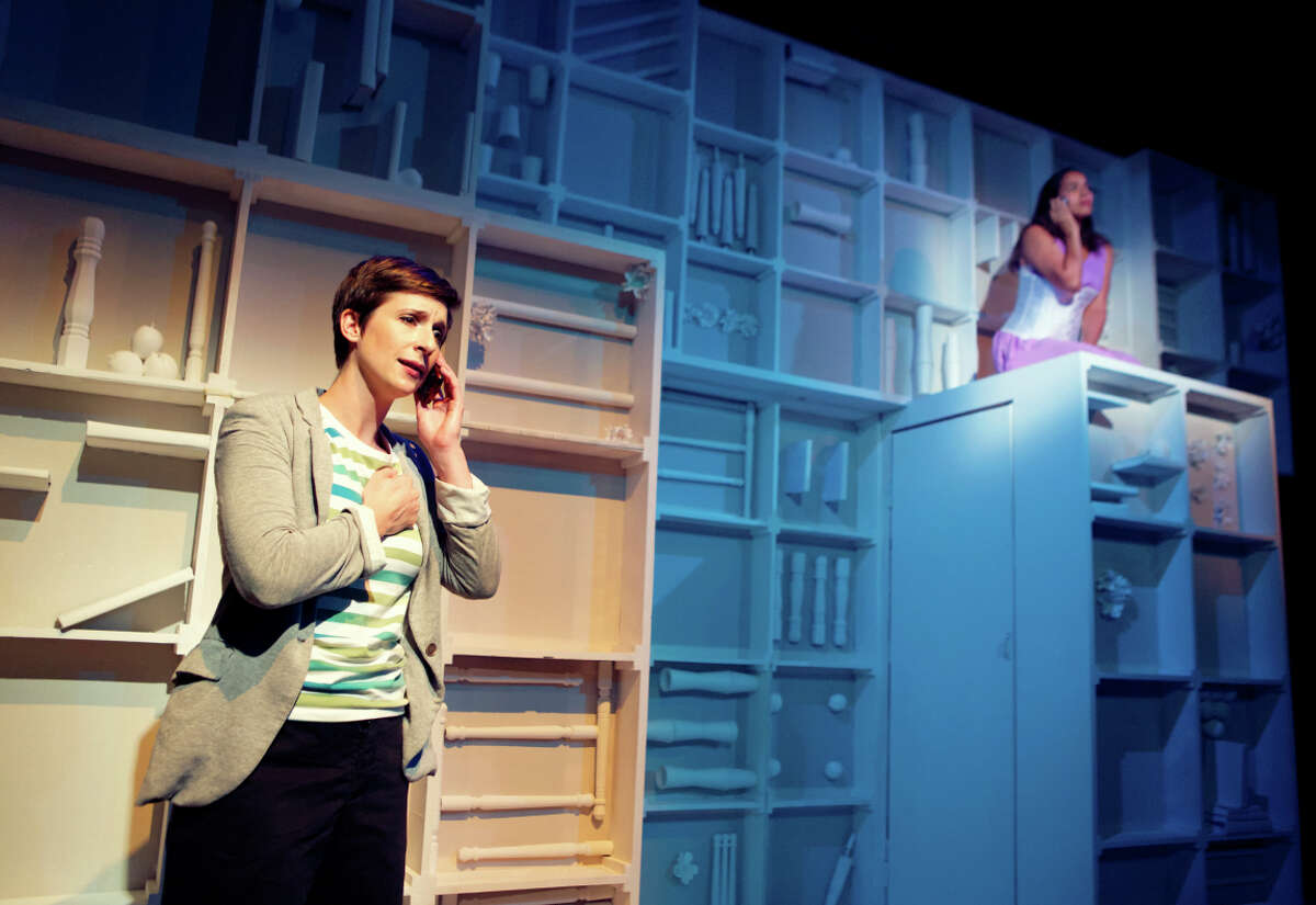 Kathryn Zdan (left) and Lauren Spencer in the dizzingly inventive new play by Christopher Chen inspired by the fiction of Italo Calvino.