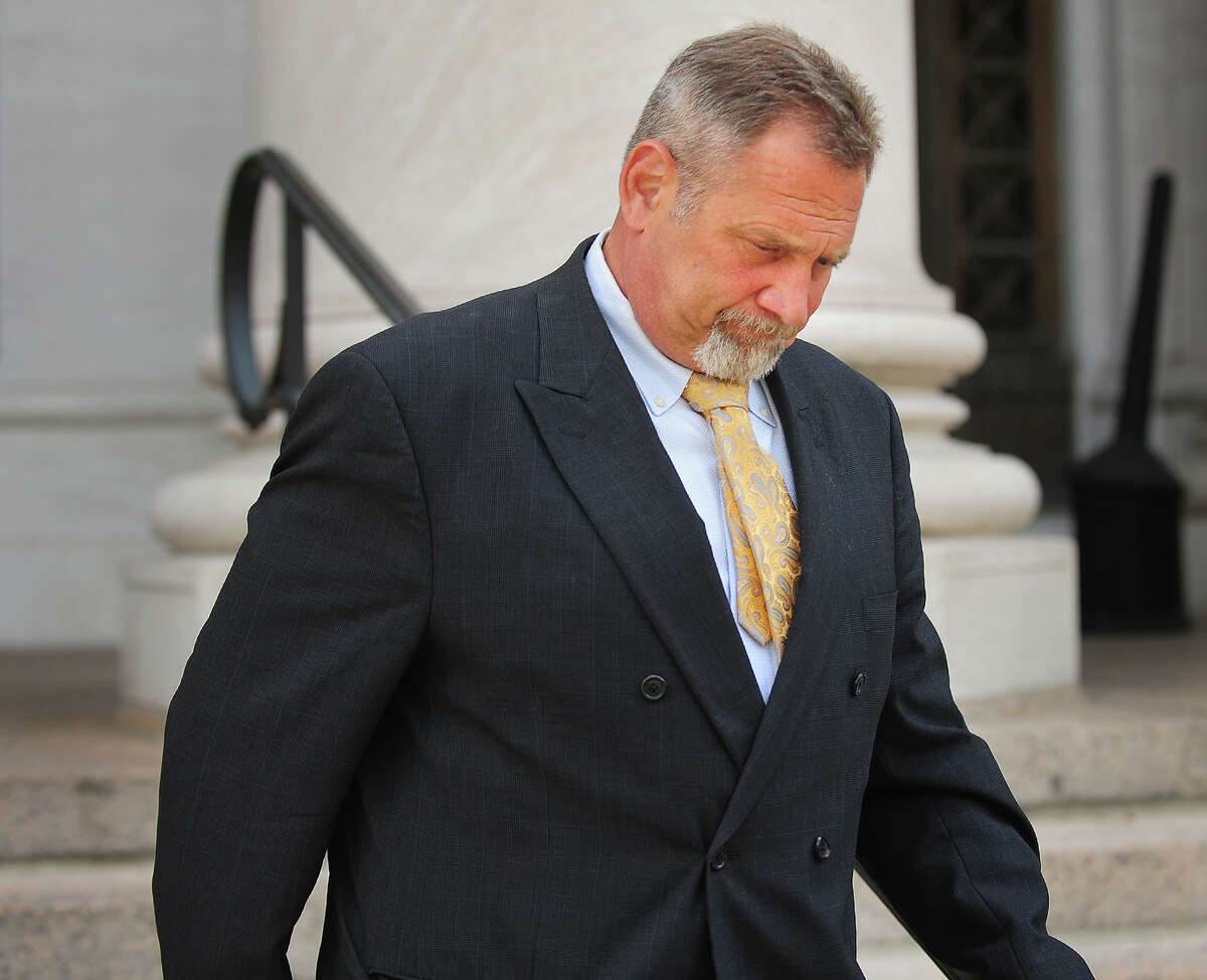 Seymour attorney Ralph Crozier, of Oxford, leaves Federal Court in New Haven, Conn. recently. Crozier will be testifying on his own behalf on Monday during his trial for money laundering for a client.