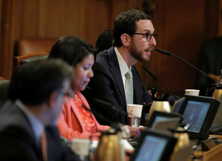 Supervisor Scott Wiener comments during discussions about the Transbay Transit Center's special tax district at the Board of Supervisors meeting Sept. 23. Photo: Michael Macor / The Chronicle / ONLINE_YES