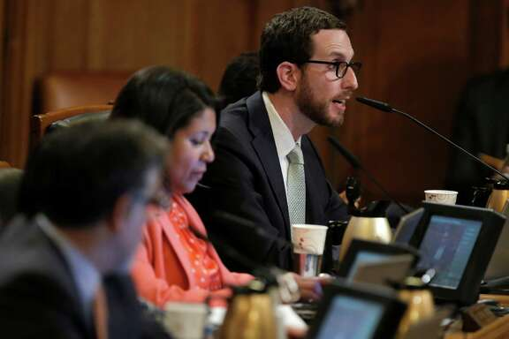 Supervisor Scott Wiener comments during discussions about the Transbay Transit Center's special tax district at the Board of Supervisors meeting Sept. 23.
