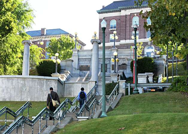 Students and pedestrians make their way along the concrete steps going up to the finished Approach at Rensselaer Polytechnic Institute Tuesday Sept. 22, 2014, in Troy, N.Y.  (John Carl D'Annibale / Times Union) Photo: John Carl D'Annibale / 00028724A