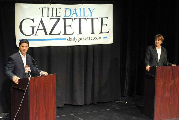 Republican candidate George Amedore and incumbent Sen. Cecelia Tkaczyk hold a debate for the 46th Senate District at the Proctors GE Theater on Tuesday Sept. 23, 2014 in Schenectady, N.Y. (Michael P. Farrell/Times Union) Photo: Michael P. Farrell / 00028733A