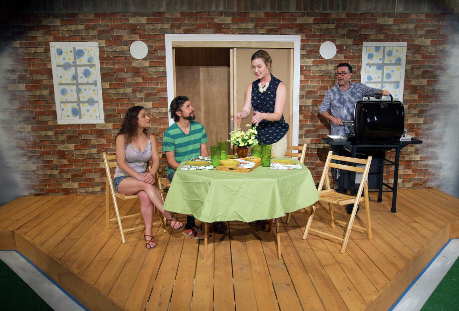 """From left, Sara Jo Dunstan, cast as Sharon, George Parker, cast as Kenny, Mischa Hutchings, cast as Mary, and Jeff Miller, cast as Ben, act out scenes from the play """"Detroit,"""" at Catastrophic Theatre, Tuesday, Sept. 16, 2014, in Houston.  (Cody Duty / Houston Chronicle) Photo: Cody Duty, Staff / © 2014 Houston Chronicle"""