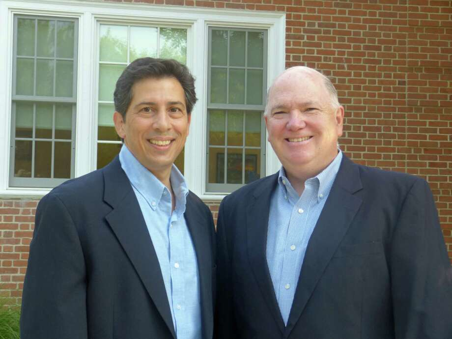 Tony Imbimbo, left, and Michael Burke are running for the Darien Board of Education on the Democratic ticket. Photo: Contributed Photo, Contributed / Darien News Contributed