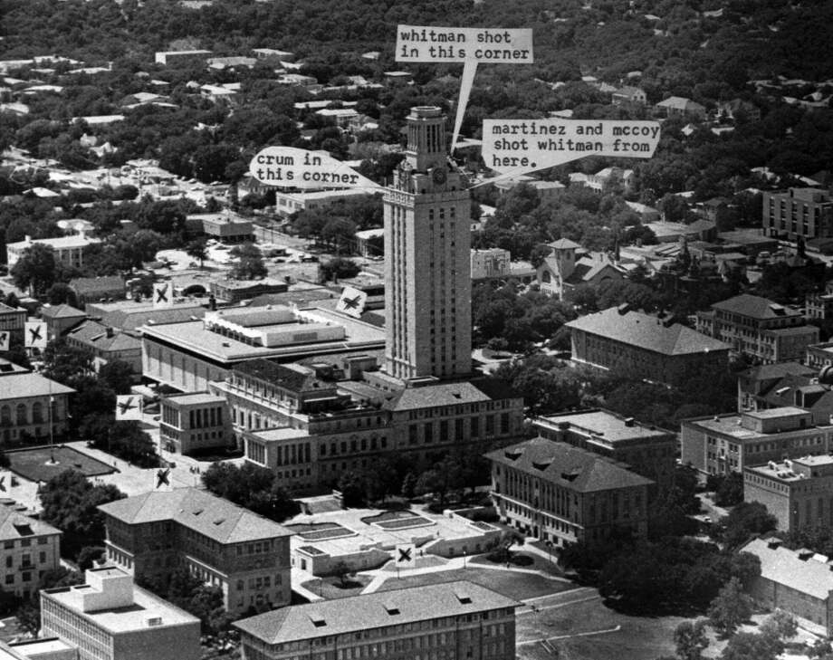 FILE--An Aug. 2,1966 photo shows where killings took place at the Texas Univesity tower in Austin, Texas. After 23 years, the University of Texas decided Thursday Nov. 12, 1998 to reopen the school's landmark clock tower, the site of one of the nation's worst mass murders. 'X' shows where victims were slain. The Corner where Charles Whitman died is partly blocked in photo. Five victims were inside the tower on steps, apparently shot by Whitman on his way to observation walkway. (AP Photo/stf) Photo: AP