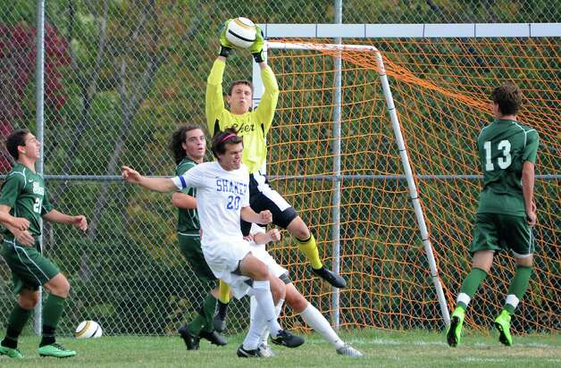 Shenendehowa goalie Jerry Lewandowski makes a save during a soccer game against Shaker on Tuesday, Sept. 23, 2014 in Latham, N.Y. (Lori Van Buren / Times Union) Photo: Lori Van Buren, Albany Times Union / 00028697A