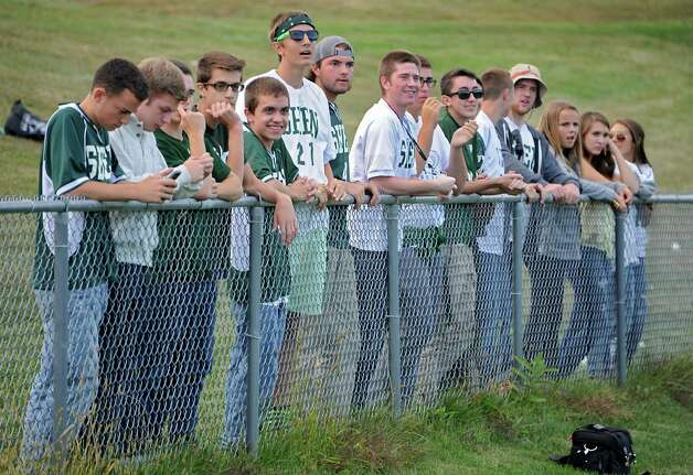 Shenendehowa students cheer on their team during a soccer game against Shaker on Tuesday, Sept. 23, 2014 in Latham, N.Y. (Lori Van Buren / Times Union) Photo: Lori Van Buren, Albany Times Union / 00028697A