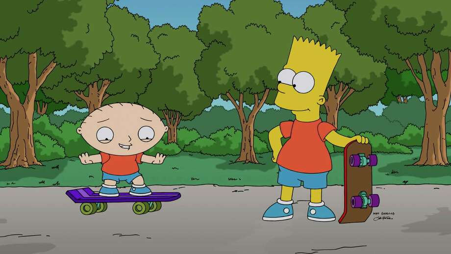 "Stewie Griffin, left, learns to skateboard with help from Bart Simpson in ""The Simpsons Guy,"" the season-premiere episode of ""Family Guy,"" airing Sunday.  Photo: Uncredited, HONS / Fox"