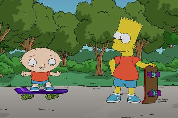 """Stewie Griffin, left, learns to skateboard with help from Bart Simpson in """"The Simpsons Guy,"""" the season-premiere episode of """"Family Guy,"""" airing Sunday."""