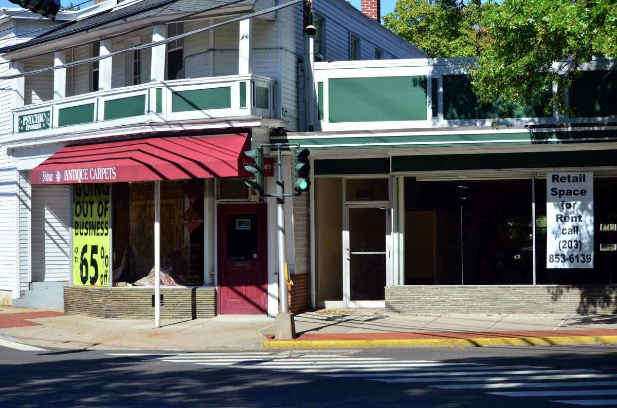 Shiraz Antique Rugs is going out of business. Next to it is the vacant space where Koenigs Art Emporium once was on the Post Road. A tutoring center is slated to go into the space where Koenigs was.