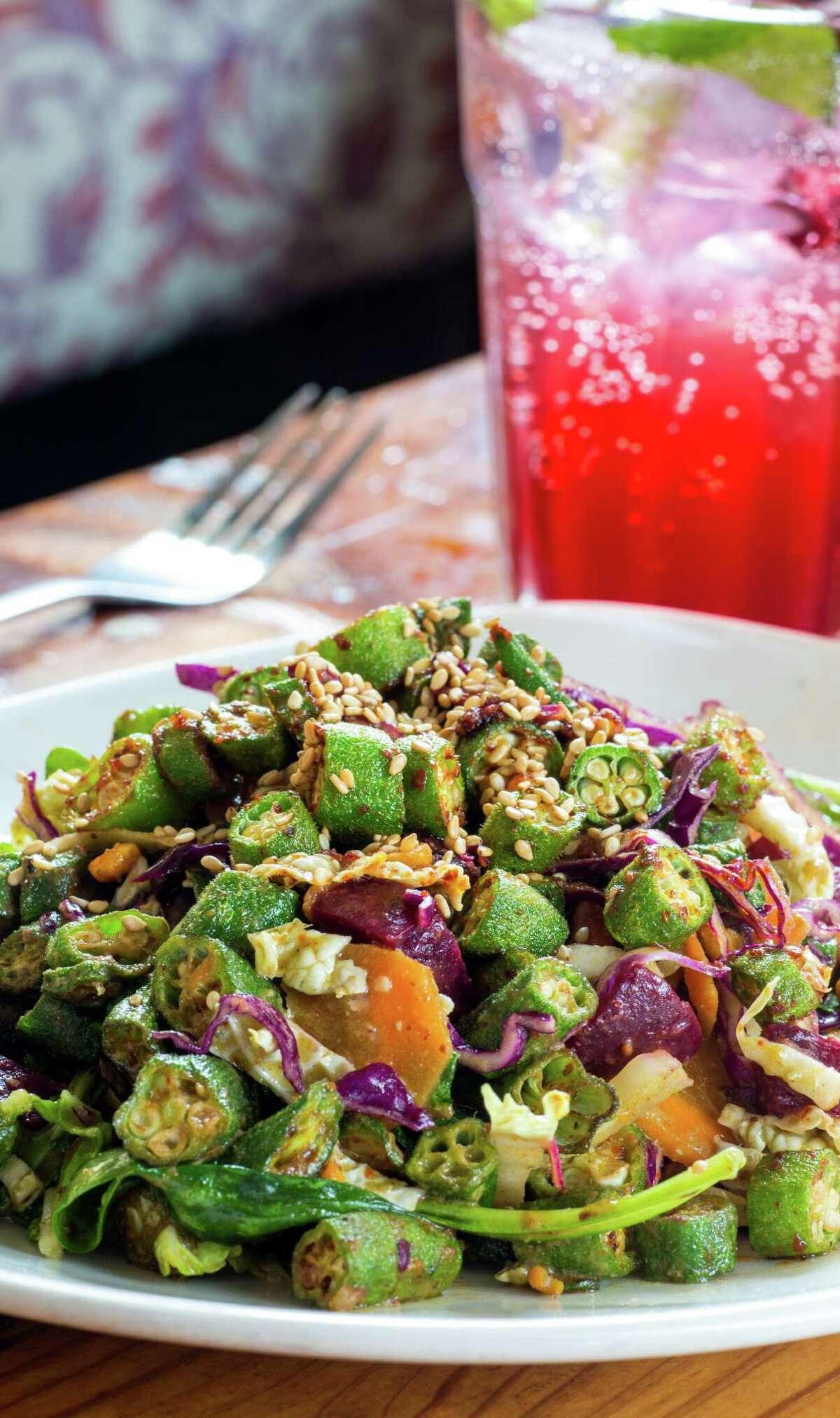 Okra salad at Pondicheri, Houston.