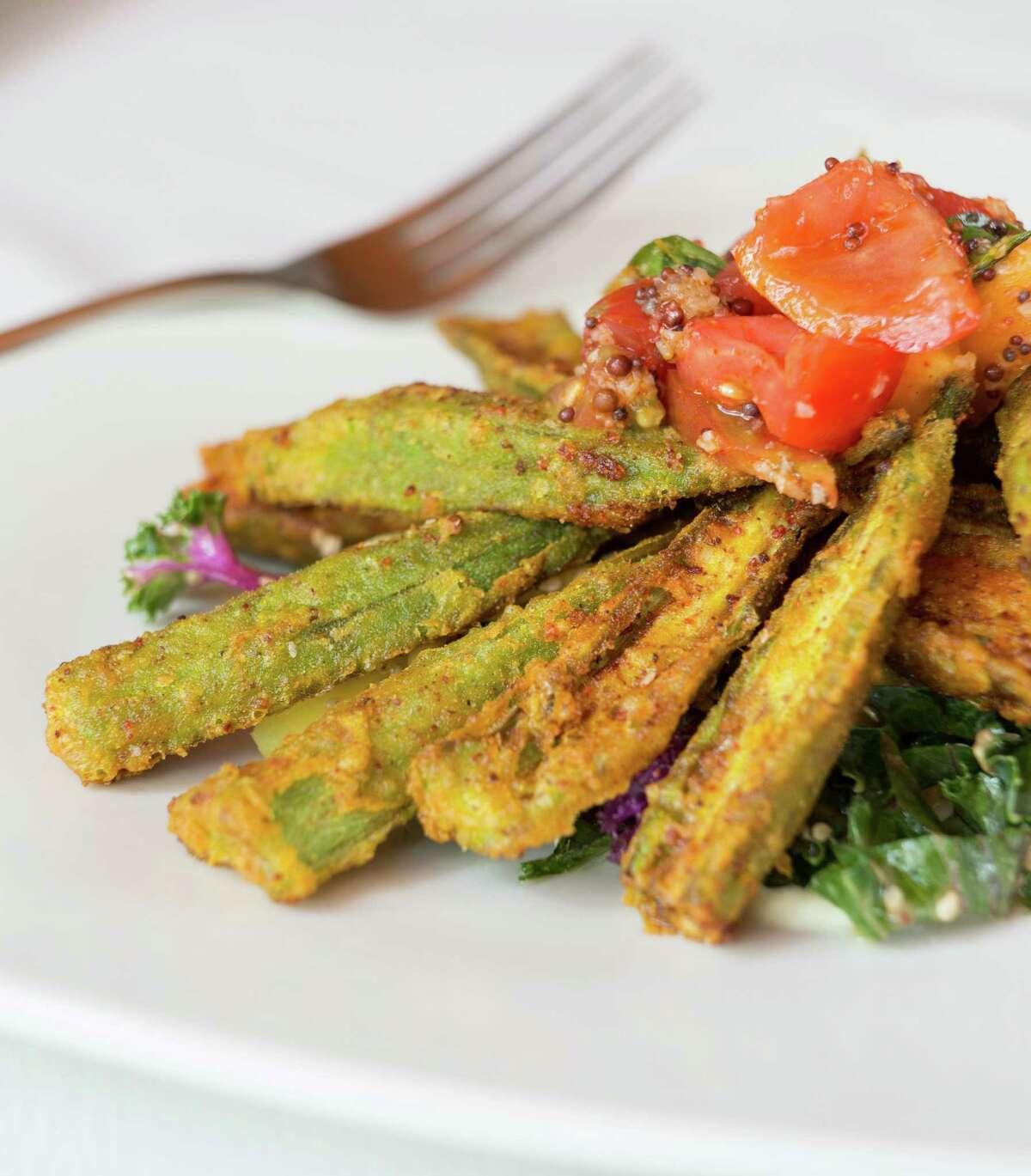Okra salad on the menu at Indika, Houston.