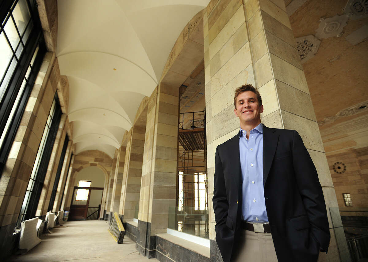 Scott Raasch, director of business development for Forstone Capital, in the lobby of the former Mechanics & Farmers building on Main Street in downtown Bridgeport, Conn. on Wednesday, September 24, 2014. The company is currently developing several projects in the city.
