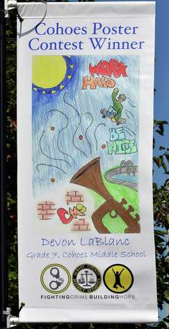 A poster by Devon LaBlanc, 13, one of three winners in Cohoe's Safe Summer Poster Contest at Canal Square Wednesday Sept. 24, 2014, in Cohoes, NY.    (John Carl D'Annibale / Times Union) Photo: John Carl D'Annibale / 00028735A