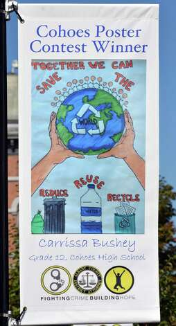 A poster by Carrissa Bushey, 18, one of three winners in Cohoe's Safe Summer Poster Contest at Canal Square Wednesday Sept. 24, 2014, in Cohoes, NY.    (John Carl D'Annibale / Times Union) Photo: John Carl D'Annibale / 00028735A