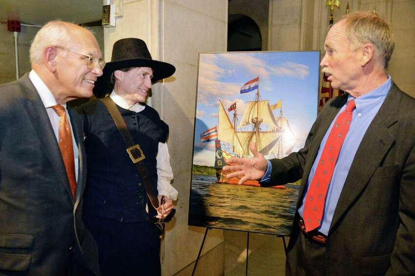 Congressman Paul Tonko, left, reenter and Halfmoon crew member Steve Weisse and Captain Chip Reynolds, right, following the awarding of a Hudson Valley Greenways grant to support a Historical Encampment hosted by the Replica Ship Half Moon and other 17th Century Native and European sites at Albany City Hall Thursday June 5, 2014, in Albany, NY. (John Carl D'Annibale / Times Union)