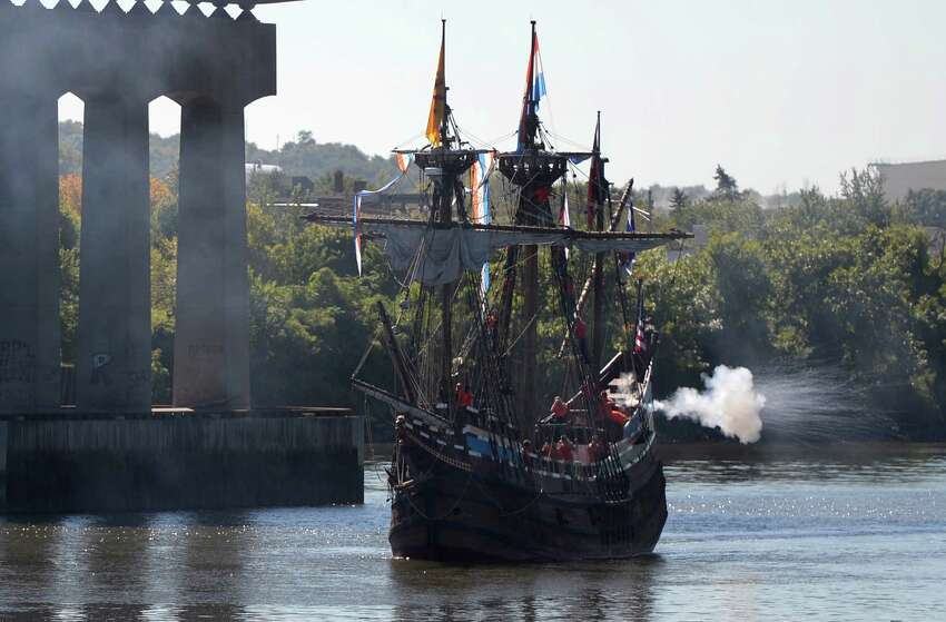 The replica of Henry Hudson's ship the Half Moon fires off a cannon as it arrives a it's mooring at the Corning Preserve this morning Sept 19, 2013 in Albany, N.Y. (Skip Dickstein/Times Union)