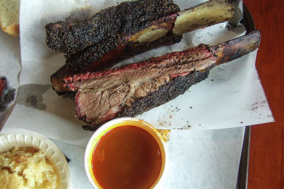 Beef ribs as served at Louie Mueller Barbecue in Taylor, Texas.