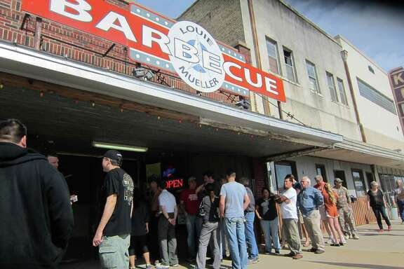 Barbecue lovers line up for a meal at Louie Mueller Barbecue in Taylor.