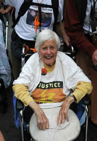 Pat Beetle, age 90, considered to be the grand dame of Activism in the Capitol region, of Albany Friends Meeting, marching (via wheel chair) in the People's Climate March in New York City on Sunday, September 21, 2014. (Photo by Jim Peppler. Copyright Jim Peppler) Photo: Jim Peppler / Copyright Jim Peppler 2014.