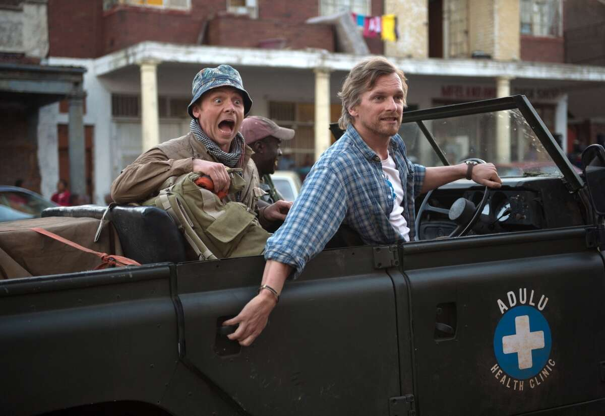 """Barry Atsma (right) and Simon Pegg star in the predictable and cliche-ridden """"Hector and the Search for Happiness."""""""