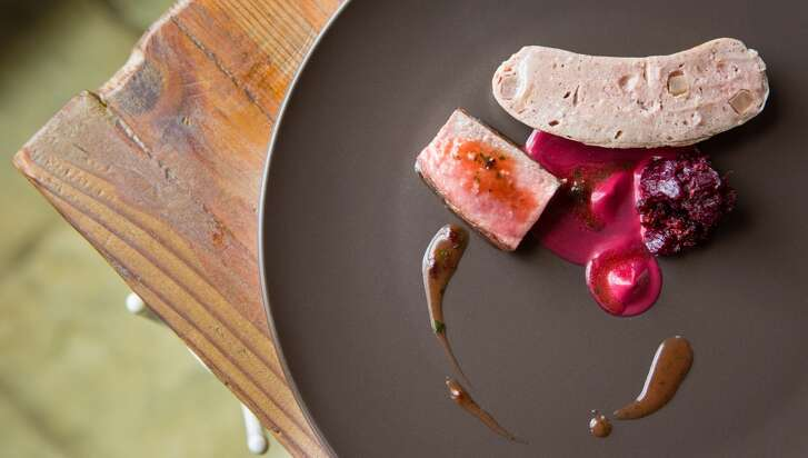 1. Oxheart   Cuisine:  Contemporary American  Entree price:  $$$$  Where:  1302 Nance  Phone:  832-830-8592  Website:   oxhearthouston.com   Read Alison Cook's review of Oxheart   Pictured above:  Roast sirloin and sausage of grass-fed beef, with pickled beets and citrus leaf, black tea, and a sauce of dried offal