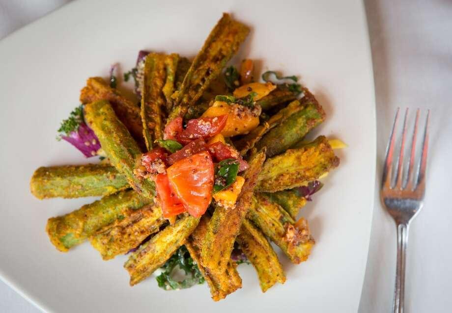 Fried okra salad at Indika Photo: ( Nick De La Torre )