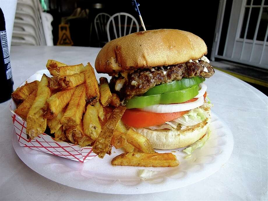 The Hubcap Grill serves the Greek Burger with fresh-cut fries. Photo: Alison Cook