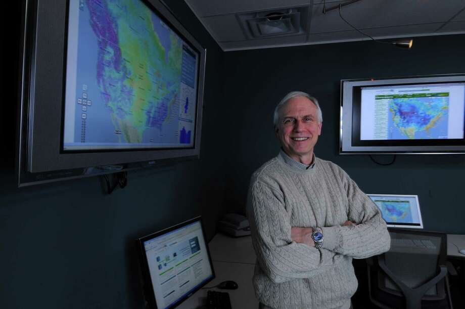 Bruce H. Bailey, Ph.D., President and CEO of AWS TruePower, a company that does wind forecasting for wind turbine projects, in his company's media room in Albany, NY  on Thursday December 16, 2010.  ( Philip Kamrass / Times Union ) Photo: Philip Kamrass / 00011425A