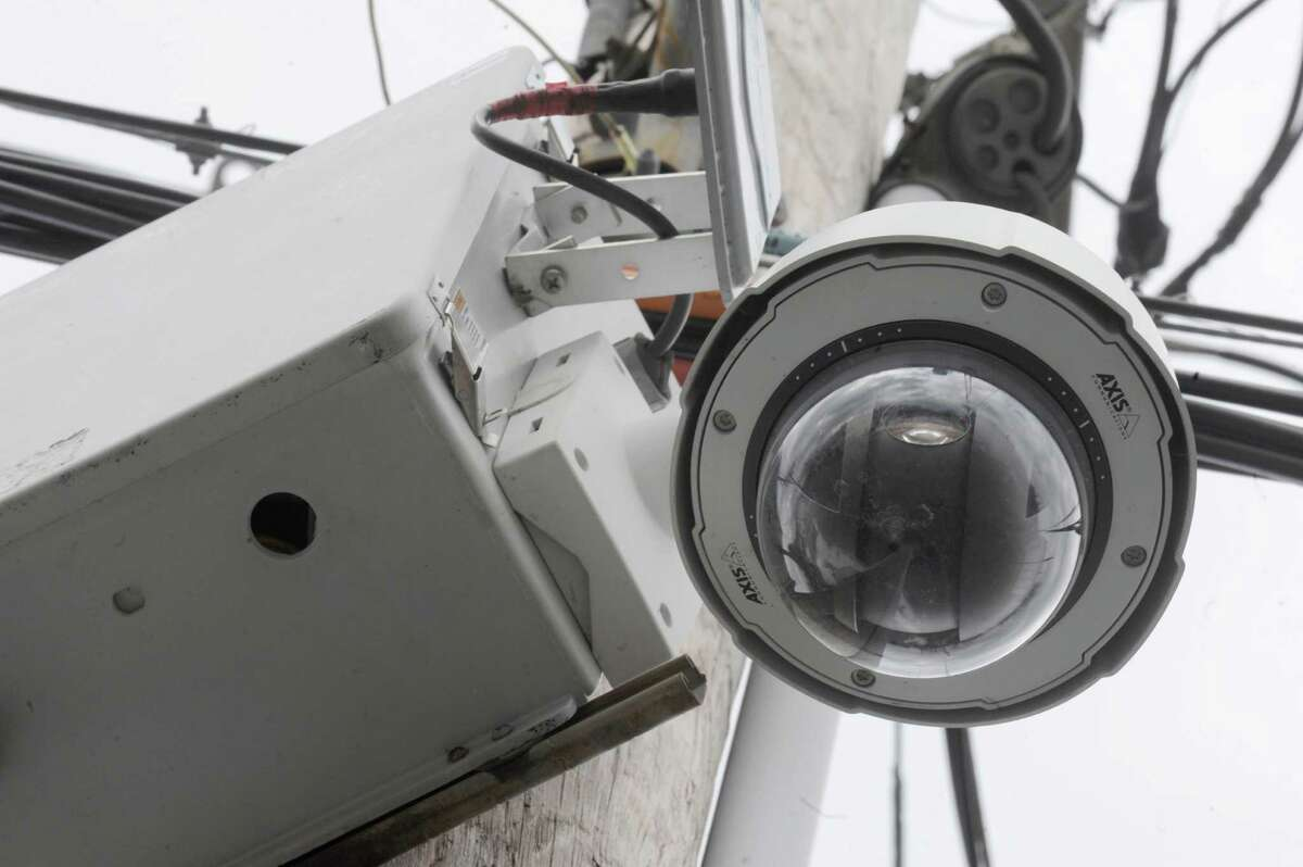 A Schenectady Police street camera affixed to a utility pole at the intersection of Duane Avenue and Craig Street on Thursday March 20, 2014 in Schenectady, N.Y. (Michael P. Farrell/Times Union)
