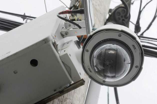 A Schenectady Police street camera affixed to a utility pole at the intersection of Duane Avenue and Craig Street on Thursday March 20, 2014 in Schenectady, N.Y. (Michael P. Farrell/Times Union) Photo: Michael P. Farrell / 00026220A