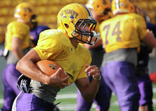 UAlbany freshman wide receiver Josh Gontarek runs with the ball during football practice on Wednesday, Sept. 24, 2014 in Albany, N.Y. (Lori Van Buren / Times Union) Photo: Lori Van Buren / 00028732A
