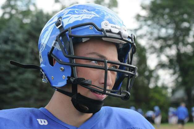 Hoosic Valley High School football quarterback Colin Claus during practice on Wednesday Sept. 24, 2014 in Schaghticoke, N.Y. (Michael P. Farrell/Times Union) Photo: Michael P. Farrell / 00028726A