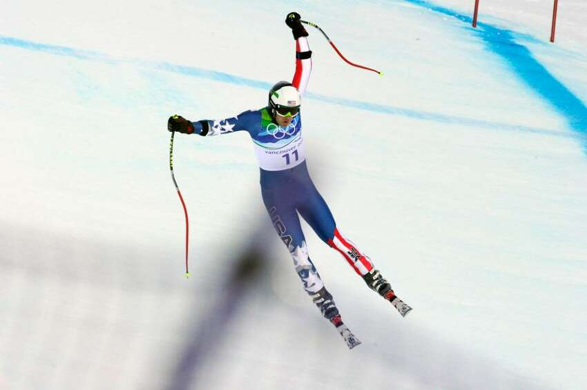 WHISTLER, BC - FEBRUARY 19: (FRANCE OUT) Bode Miller of the USA takes the Silver Medal during the men's alpine skiing Super-G on day 8 of the Vancouver 2010 Winter Olympics at Whistler Creekside on February 19, 2010 in Whistler, Canada. (Photo by Francis Bompard/Agence Zoom/Getty Images) *** Local Caption *** Bode Miller