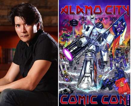 San Antonio artist Juan Carlos Ramos and his Alamo City Comic Con print. (courtesy Juan Carlos Ramos)