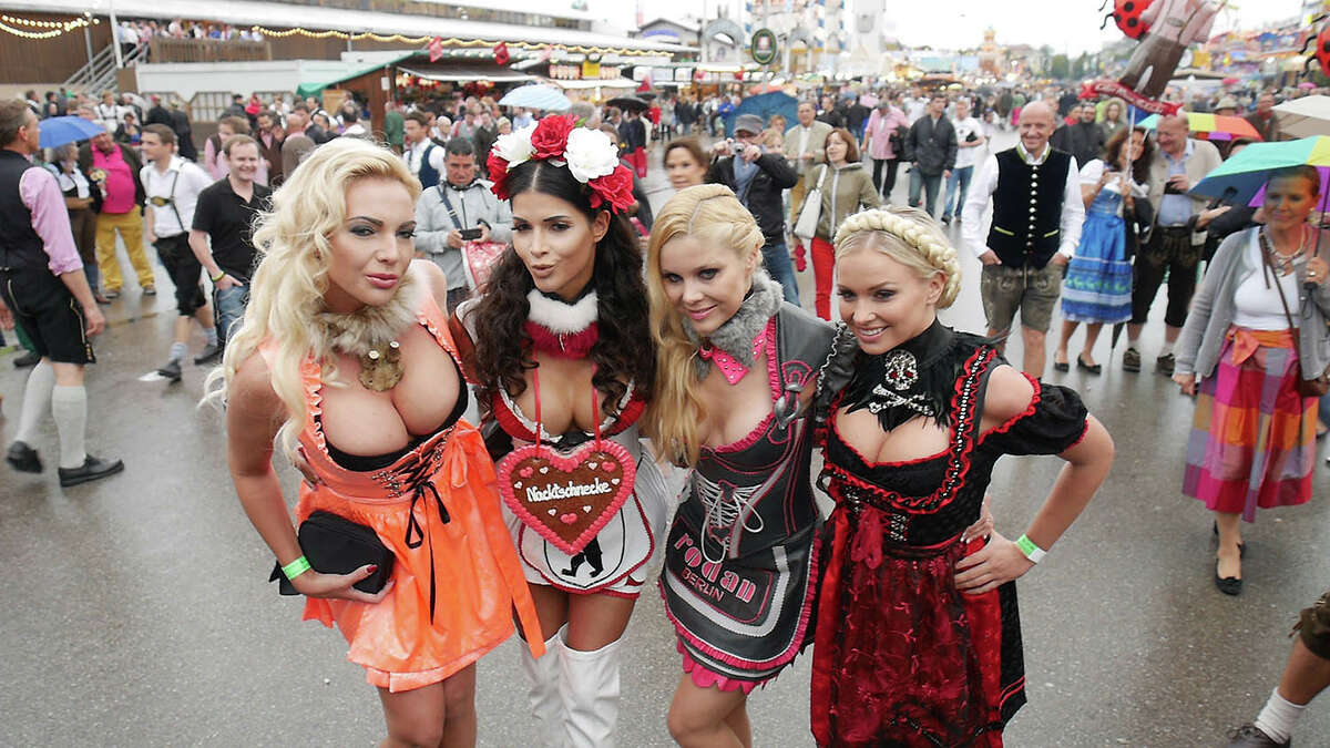Micaela Schafer (2nd from Left) sighted during Oktoberfest at Theresienwiese on September 21, 2014 in Munich, Germany.