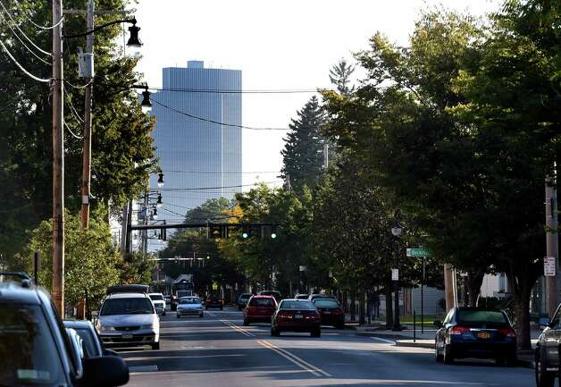 Delaware Avenue looking north to the Empire State Plaza Wednesday morning, Sept. 24, 2014, in Albany, N.Y.   (Skip Dickstein/Times Union) Photo: SKIP DICKSTEIN / 00028692A