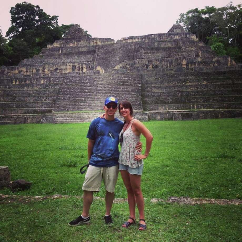 Sarah Cusenza and her husband, Ryan, at Caracol Mayan ruins in Belize. / ONLINE_YES