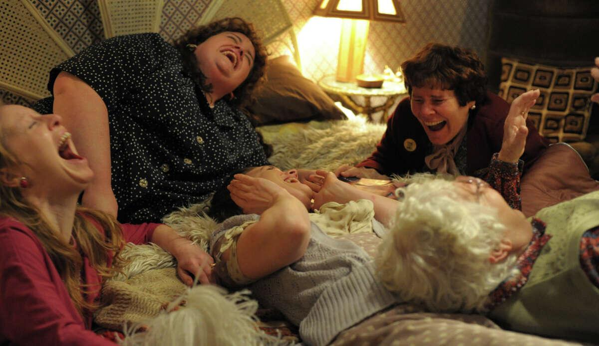 Nia Gwynne (left), Jessica Gunning, Liz White, Menna Trussler and Imelda Staunton (top right) appear in